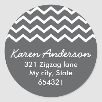 Gray chevron zigzag pattern zig zag address label