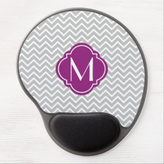 Gray Chevron Zigzag Stripes with Monogram Gel Mouse Mat