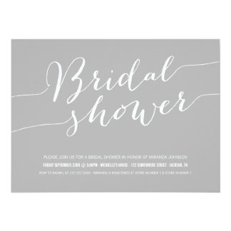 Gray Chic Bridal Shower Invitations