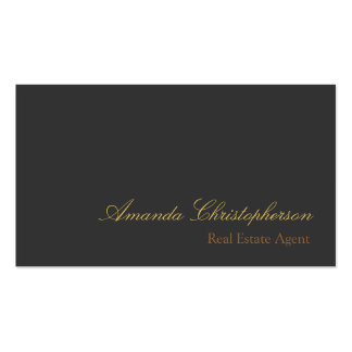 Gray Chic Script Trend Stylish Agent Business Card