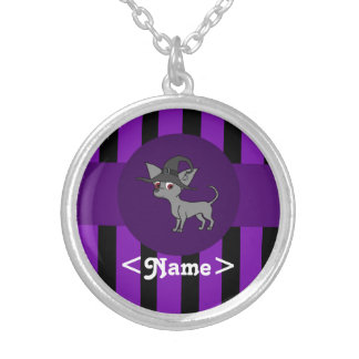 Gray Chihuahua with Witch Hat & Purple Stripes Round Pendant Necklace