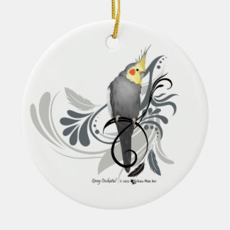 Gray Cockatiel Ceramic Ornament