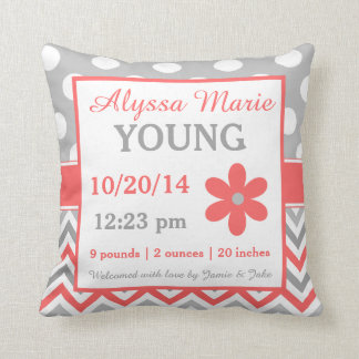 Gray Coral Chevron Dots Birth Announcement Pillow