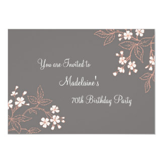 Gray Coral Floral 70th Birthday Party Invitations