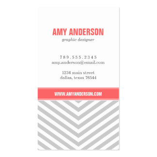 Gray & Coral Modern Chevron Stripes Double-Sided Standard Business Cards (Pack Of 100)