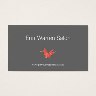 GRAY & CORAL ORIGAMI CRANE Business Card