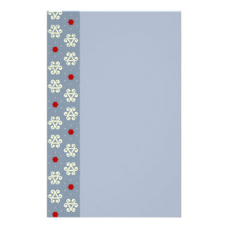 Gray Cream Red Decorative Pattern Personalized Stationery