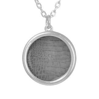 Gray crocodile silver plated necklace