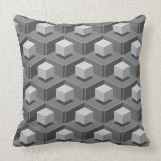 Gray Cube Pattern Isometric Cushion