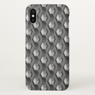 Gray Cube Pattern Isometric iPhone X Case