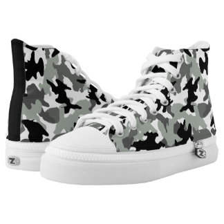 Gray Custom Color Camo Military Camouflage Hi Top Printed Shoes