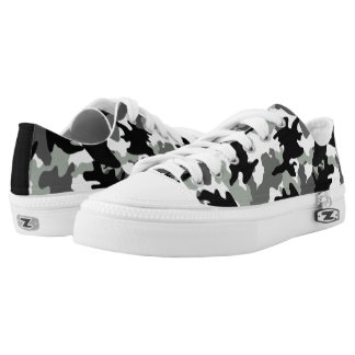 Gray Custom Color Camo Military Camouflage Low Top Printed Shoes