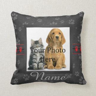 Gray Custom Paw Prints Cat or Dog Memorial Cushion