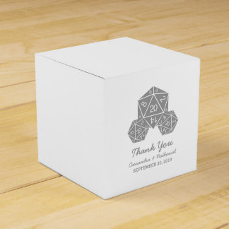 Gray D20 Dice Wedding Favor Boxes