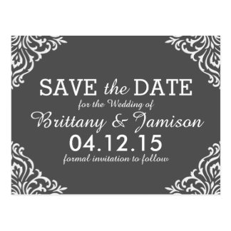Gray Damask Elegant Save the Date Postcard