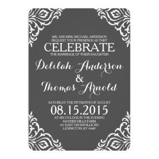 "Gray Damask Filigree Elegant Wedding Invitation 5"" X 7"" Invitation Card"