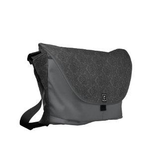 Gray Damask Messenger Bag