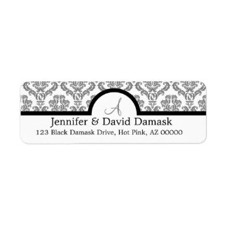 Gray Damask Monogram Labels