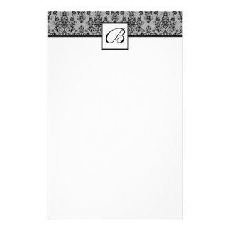 Gray Damask Monogrammed Wedding Stationary Stationery Design