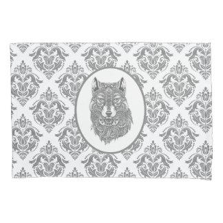 Gray Damask Patter Wolf Head Pillowcase