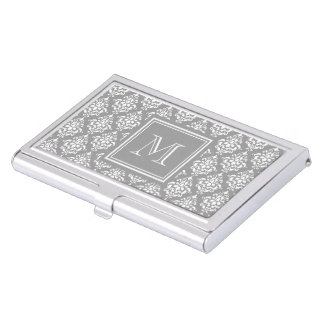 Gray Damask Pattern 1 with Monogram Business Card Holder