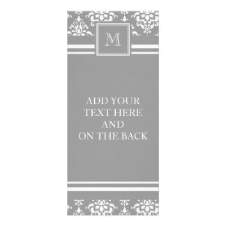 Gray Damask Pattern 1 with Monogram Personalized Rack Card
