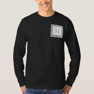 Gray Damask Pattern 1 with Monogram T-Shirt