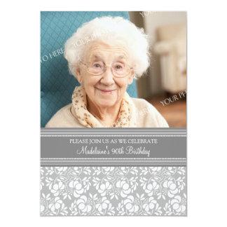 "Gray Damask Photo 90th Birthday Party Invitations 5"" X 7"" Invitation Card"