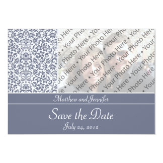 Gray Damask Photo Save the Date Announcement Personalized Invitation