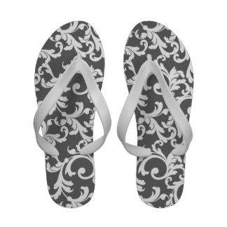 Gray Damask Print Flip-Flops