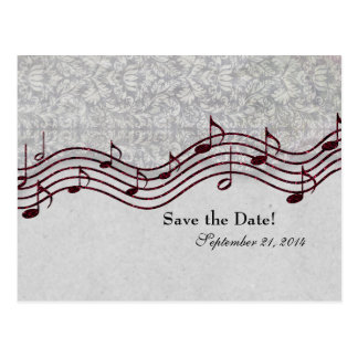 Gray Damask Red Music Save the Date Postcard