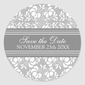 Gray Damask Save the Date Envelope Seal Round Sticker