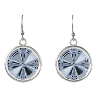 Gray Dartboard Circular Drop Earrings