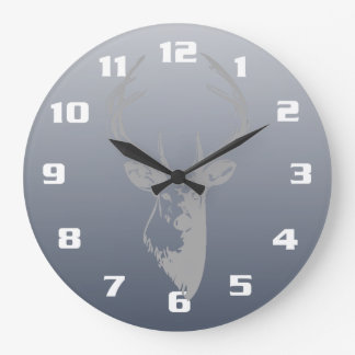 Gray Deer Head On Smoky Blue Large Clock