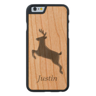 Gray Deer Personalized Carved Cherry iPhone 6 Case