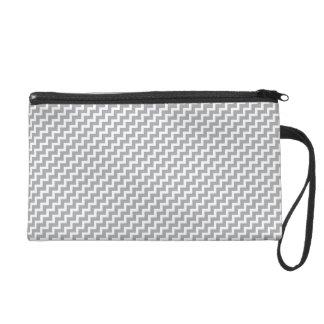 Gray Diagonal Chevron Stripes Wristlet