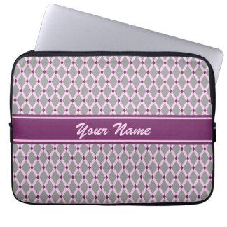 Gray Diamonds-Pink Frames Electronics Bag