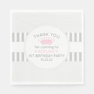 Gray dot stripes pink crown birthday party napkins paper serviettes