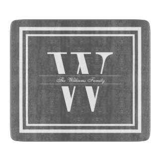 Gray Double Border Monogram Cutting Board