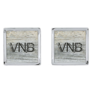Gray Driftwood Weathered Gray Personalized Silver Finish Cuff Links