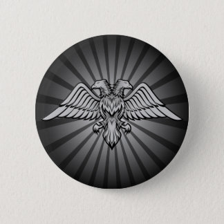 Gray eagle with two heads 6 cm round badge
