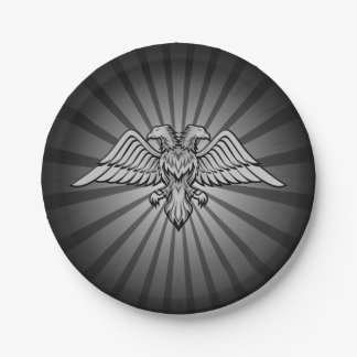 Gray eagle with two heads 7 inch paper plate