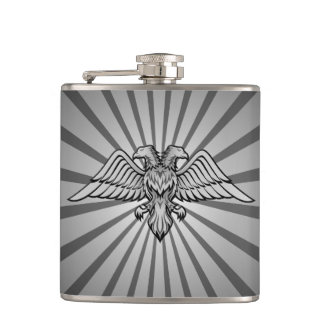 Gray eagle with two heads hip flask