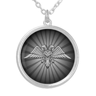 Gray eagle with two heads silver plated necklace