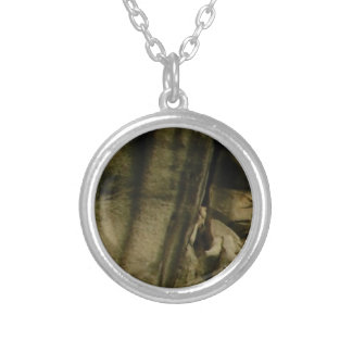 gray edge of rock face silver plated necklace