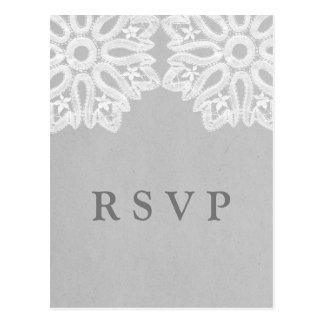 Gray Elegant Lace RSVP Postcard