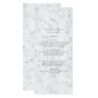 Gray Elegant Marble Wedding Menu Card