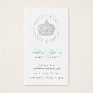 Gray Elegant Vintage Crown Vertical Business Card