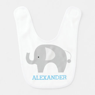 Gray Elephant Baby Bib