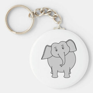 Gray Elephant. Basic Round Button Key Ring